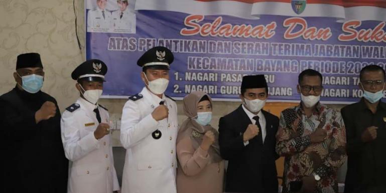 Wakil Bupati Pessel, Rudi Hariyansyah menghadiri pelantikan empat orang wali nagari di Kecamatan Bayang, Kamis (22/7). (Dok : Istimewa)