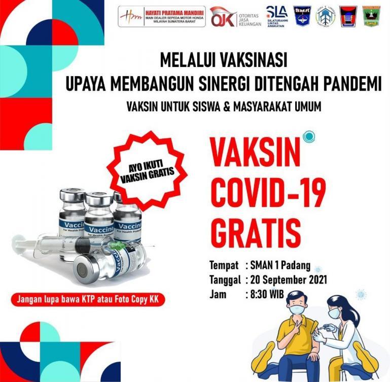 Brosur kegiatan vaksinasi gratis yang diadakan alumni SMA 1 Bukittinggi di SMA 1 Padang. (Dok : Istimewa)