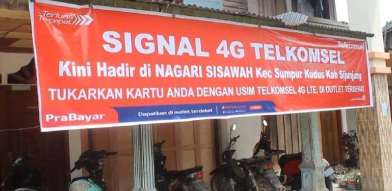 Tower BTS Telkomsek telah hadir di Nagari Sisawah, Kabupaten Sijunjung, menjadikan nagari ini tidak lagi blankspot. (Dok : Istimewa)