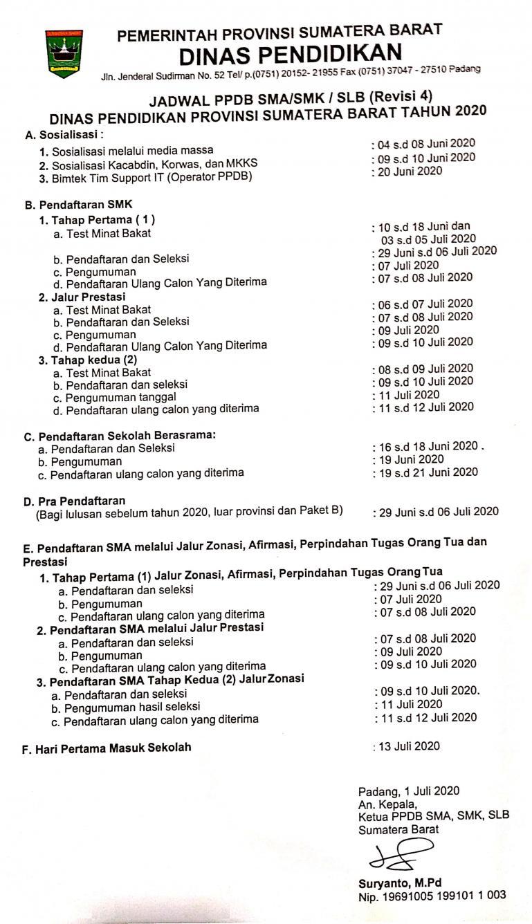 Surat revisi ke-empat PPDB untuk SMA dan SMK yang dikeluarkan Disdik Sumbar, Rabu (1/7) kemarin. (Dok : Istimewa)