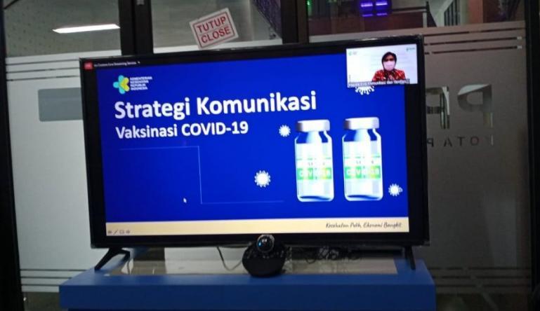 Rapat Koordinasi (Rakor) strategi komunikasi publik vaksinasi Covid-19 se Indonesia, Selasa (5/1). (Dok : Istimewa)