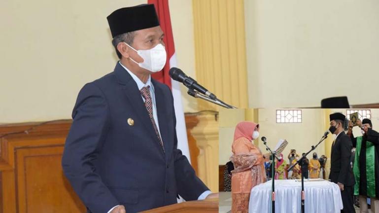 Wali Kota Pariaman, Genius Umar saat beri sambutan pada PAW Erizal sebagai anggota DPRD Kota Pariaman, Kamis (12/8). (Dok : Istimewa)