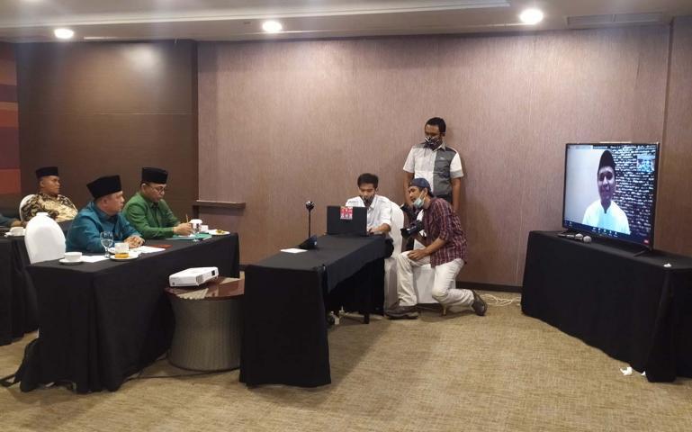 Suasana Deklarasi Faldo - Febby secara zoom meeting di Hotel Mercure Padang, Rabu (24/6).(Dok : Istimewa)