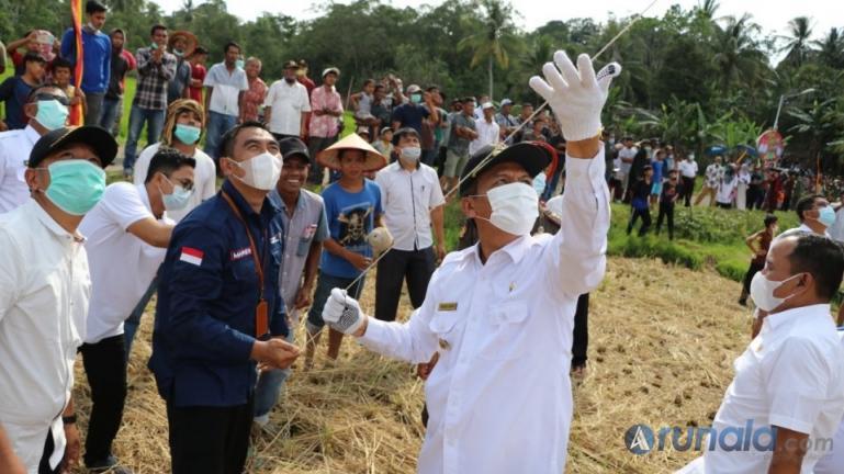 Wali Kota Genius Umar memainkan layangan saat pembukaan festival laying-layang, Rabu (10/3). (Foto : Arzil)