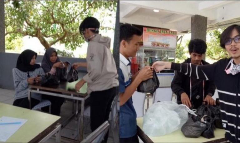 Mahasiswa Fisip Unand ikut dilibatkan dalam tim tanggap darurat Covid-19 saat bagikan makanan pada mahasiswa. (Foto : Istimewa)