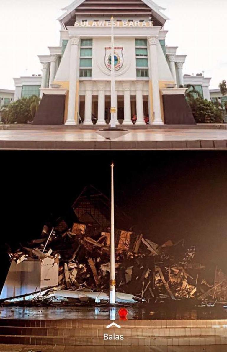 Gedung pemerintahan di Sulbar yang hancur akibat gempa yang terjadi Jumat dini hari (foto bawah). Gedung pemerintahan di Sulbar yang sebelumnya masih berdiri (foto atas). (Dok : Istimewa)