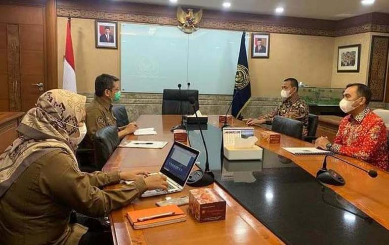 Wali Kota Pariaman, Genius Umar bersama Kadis Parbud, Dwi Marhen Yono saat mengunjungi Kemenparekraf, Rabu siang (1/9). (Dok : Istimewa)