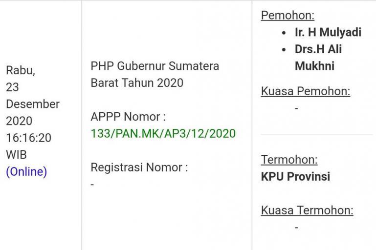 Berkas pengajuan permohonan gugatan PHP Gubernur Sumbar 2020 dari kubu Mulyadi-Ali Mukhni di laman resmi milik MK, Rabu (23/12). (Dok Istimewa)