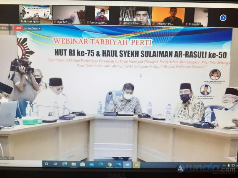 Gubernur Irwan Prayitno bersama Anggota DPD RI Leonardy Harmainy saat ikuti webinar Tarbiyah-Perti dalam rangka HUT RI ke-75 dan haul ulama Syekh Sulaiman Ar-Rasuli ke-50, Sabtu (22/8). (Dok : Istimewa)