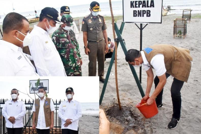 Kepala BNPB, Doni Monardo menanam pohon di kawasan Pantai Ma'ruf Amin, Pariaman, Rabu sore (14/4). (Dok : Istimewa)