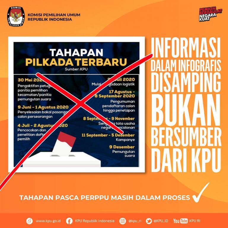 Pengumuman Tahapan Pilkada Penganti yang dinyatakan tidak benar oleh KPU Sumbar.