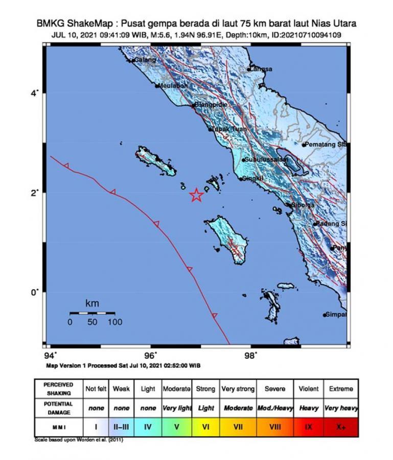 Peta yang memperlihatkan lokasi gempa di Kabupaten Nias Utara, Sabtu pagi (10/7). (Dok : Istimewa)