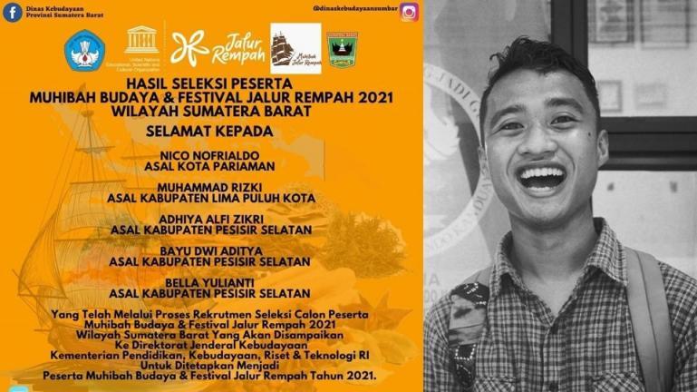 Nico Nofrialdo yang terpilih ikut acara Muhibah Budaya dan Festival Jalur Rempah 2021 dari Kemdikbudristek. (Dok : Istimewa)