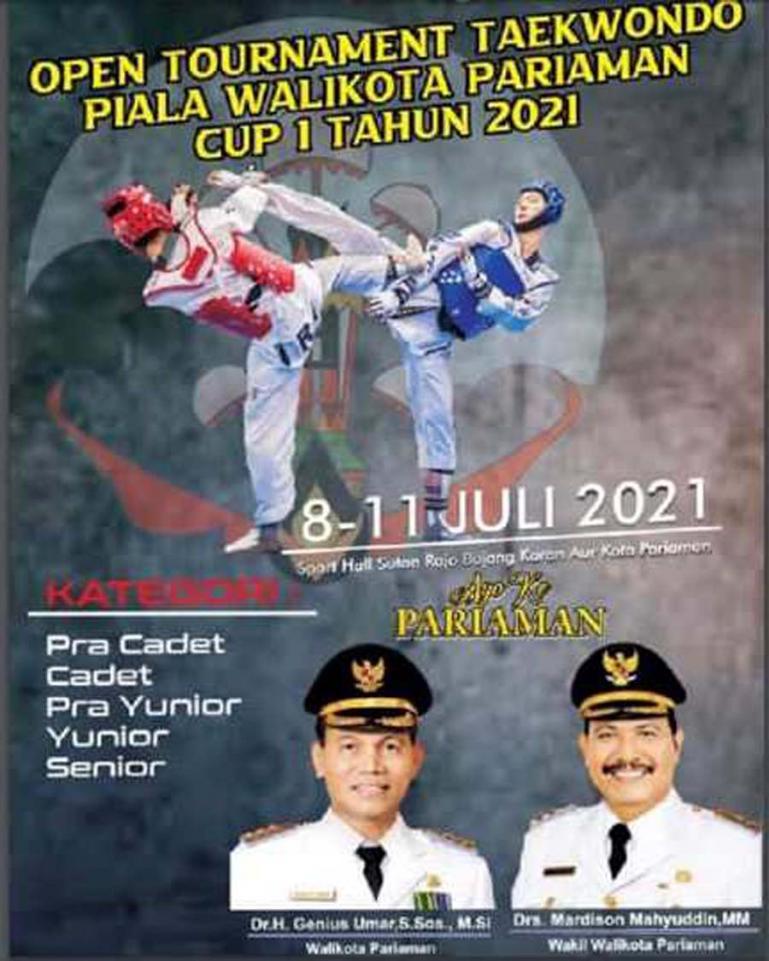 Brosur kejuaraan terbuka Taekwondo Piala Wali Kota Pariaman Cup I 2021. (Dok : Istimewa)