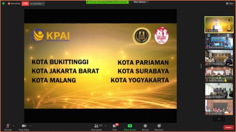 Hasil zoom metting Anugerah KPAI Award 2021 yang menetapkan Kota Pariaman sebagai salah satu kota yang masuk nominasi dalan anugerah itu, Selasa (22/7). (Dok : Istimewa)