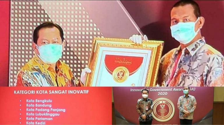 Wali Kota Pariaman, Genius Umar saat menerima anugerah Innovative Government Award (IGA) 2020, dari Kemnendagri, di Jakarta, Jumat siang (18/12). (Dok : Istimewa)