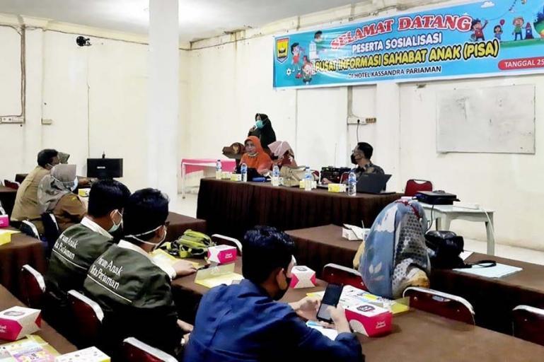 Sosialisasi DP3AKB Kota Pariaman menyangkut rencana pembangunan gedung pusat informasi sahabat anak (PISA) di kota itu, Selasa (25/5). (Dok : Istimewa)