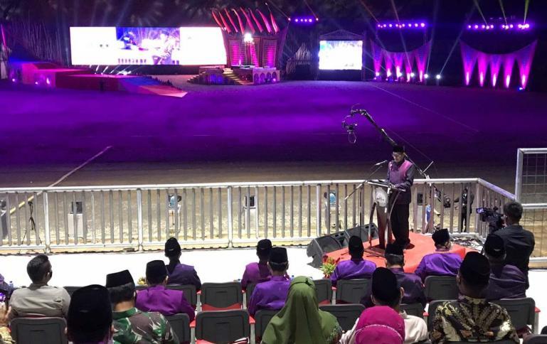 Gubernur Sumbar Irwan Prayitno beri laporan penyelenggaraan saat pembukaan MTQN ke-XXVIII, Sabtu malam (14/11). (Dok Istimewa)