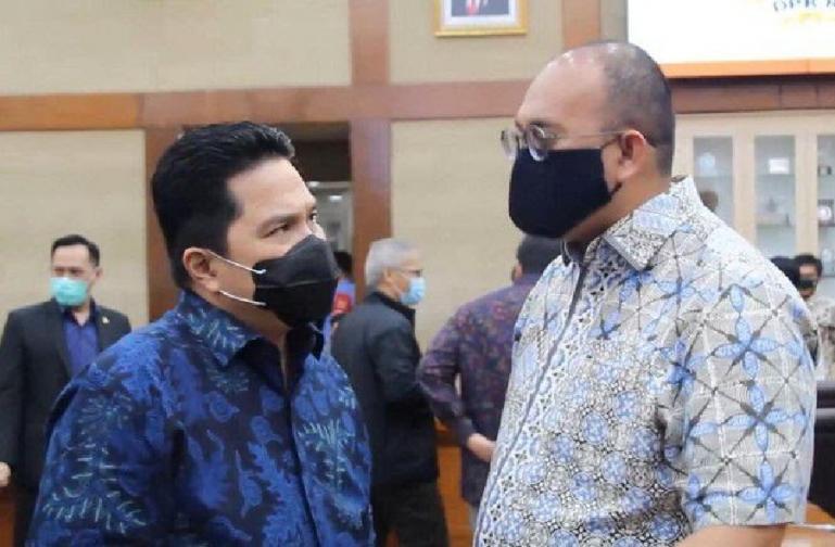 Anggota DPR RI, Andre Rosiade bersama Menteri BUMN, Erick Thohir, di DPR RI, Senin (30/8) lalu. (Dok : Istimewa)