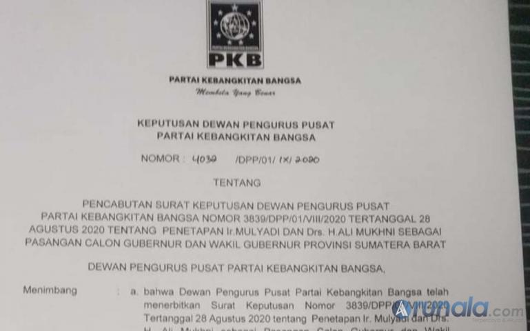Surat Keputusan (SK) DPP PKB soal dukungan bagi bakal calon (balon) gubernur dan wakil gubernur yang diusung partai ini. (Foto : Amz)