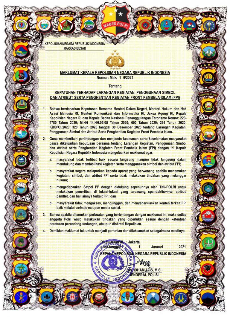 Maklumat Kapolri Jenderal Pol Idham Aziz. (Dok : Istimewa)