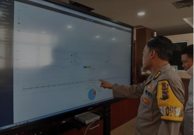 Irwasda Polda SumbarKombes K Rahmadi saat melihat tampilan aplikasiE-DUMAS di Mapolda Sumbar, Sabtu (11/7) (Dok : Istimewa)