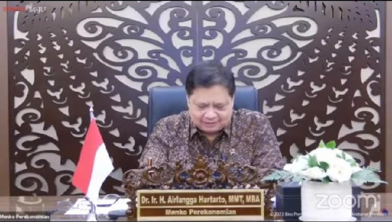 Ketua KPCPEN, Airlangga Hartarto dalam konferensi pers virtual, Senin (20/9). (Dok : Istimewa)