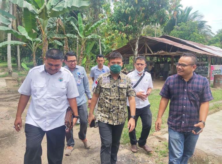 Anggota DPD RI, Alirman Sori didampingi pihak Bank Nagari Painan saat mengunjungi kelompok ternak Cupak Manih, Kenagarian Gurun Panjang, Painan, Pessel, Rabu (13/10). (Dok : Istimewa)