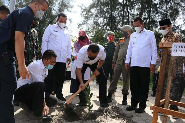 Wagub Sumbar, Audy Joinaldy saat menanam bibit pohon Pinago di kawasan Pantai Gandorian, Kota Pariaman, Rabu (7/7). (Dok : Istimewa)