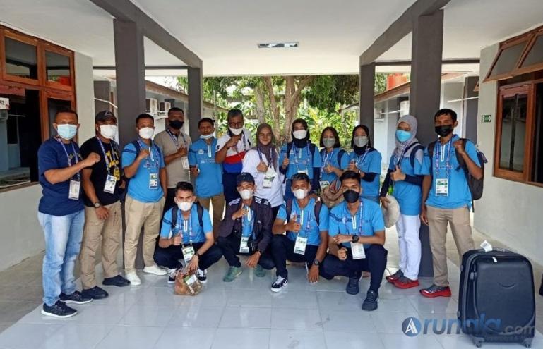 Tim Takraw Sumatera Barat saat berada di Kota Jayapura jelang pertandingan PON XX Papua 2021, Minggu (26/9). (Foto : Can)