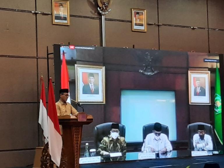 Gubernur Irwan Prayitno saat beri sambutan saat launching MTQ Nasional XXVIII yang diadakan di Sumbar pada November 2020 nanti, Selasa (28/7). (Dok : Istimewa)