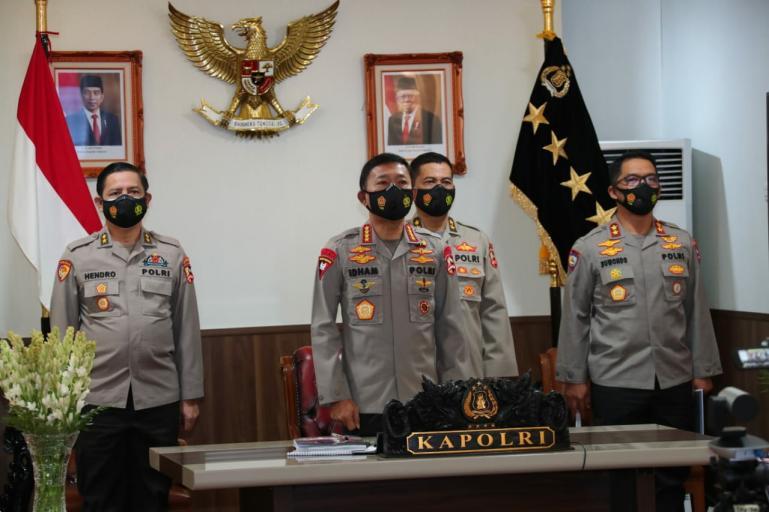 Kapolri Jenderal Idham Azis saat rilis akhir tahun Polri 2020 di Gedung Bareskrim Polri, Jakarta Selatan, Selasa (22/12). (Dok : Istimewa)