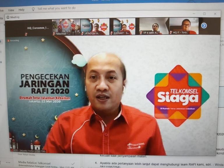 Direktur Utama Telkomsel Setyanto Hantoro saat memaparkan kesiapan jaringan dan layanan Telkomsel di pengujung periode Ramadhan dan Idul Fitri (RAFI 2020), di Jakarta, Jumat (22/5). (Dok :Istimewa)
