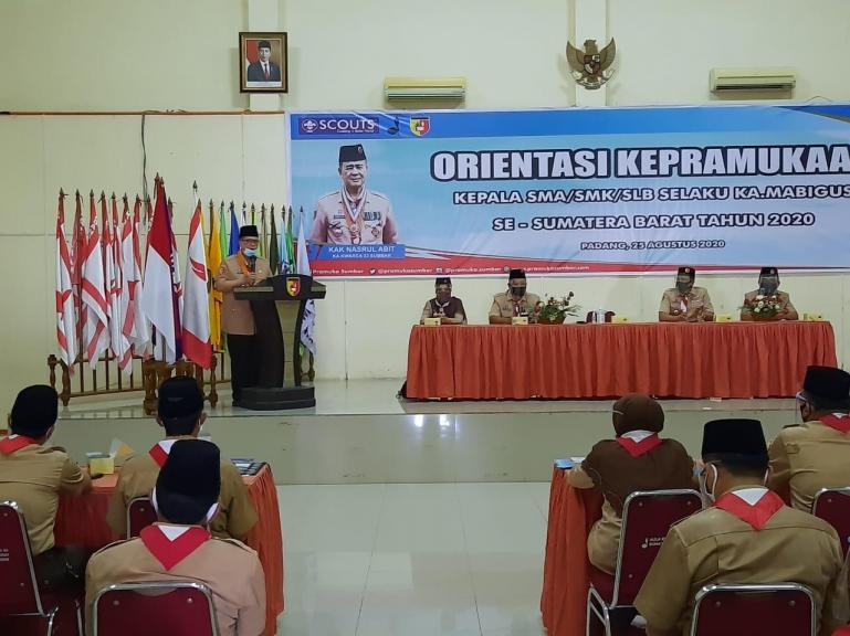 Wagub Sumbar Nasrul Abit buka kegiatan Orientasi KA.MABIGUS se-Sumbar Tahun 2020 di Gedung Pramuka Padang, Selasa (25/8). (Foto : Istimewa)