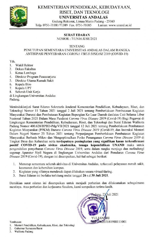 Surat edaran penghentian sementara aktivitas kampus Unand yang dikeluarkan rektornya, Jumat (23/7). (Dok : Istimewa)