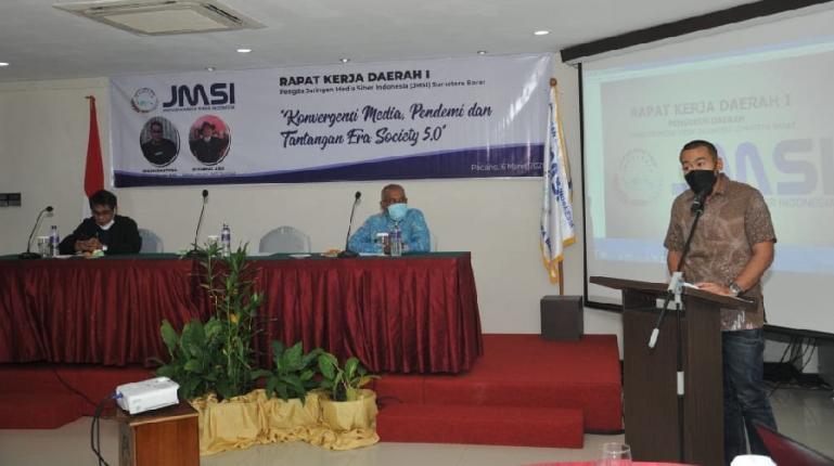 Wakil Gubernur Sumbar, Audy Joinaldy hadir membuka rakerda JMSI Sumbar, Sabtu (6/3). (Dok : Istimewa)