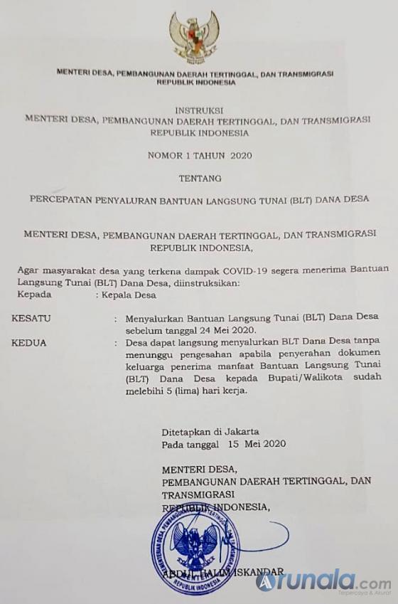 Surat Kementerian Desa, Pembangunan Daerah Tertinggal dan Transmigrasi (PDTT).